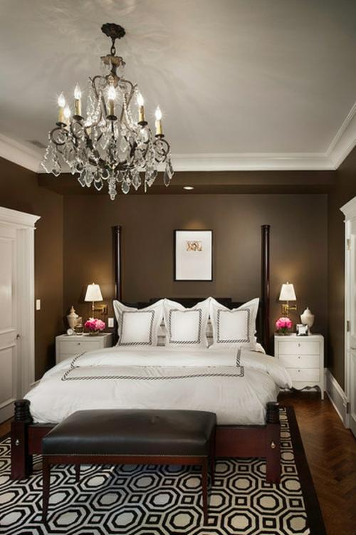wohnideen schlafzimmer design modern braun wandlichter eingebaut ... - Schlafzimmer Ideen Wandgestaltung Braun