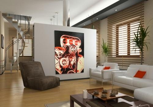 cooles bild wohnzimmer:Kunstvolles cooles Wohnzimmer einrichten sessel braun trennwand treppe