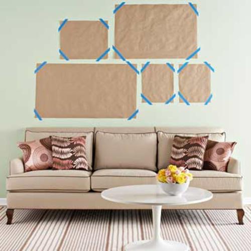 Kunstvolle coole Wohnzimmer einrichten sofa wandgestaltung eigenartig
