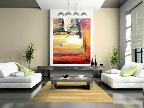 cooles bild wohnzimmer:Kunstvolles cooles Wohnzimmer einrichten sofa weiß gemälde kissen