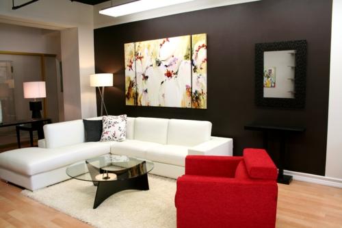 Kunstvolles cooles  Wohnzimmer einrichten sofas weiß leder rot sesel tischplatte