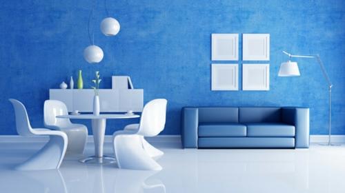 Moderne Wandfarbe fürs Zuhause blau kalt wirkung glanzvolle möbel