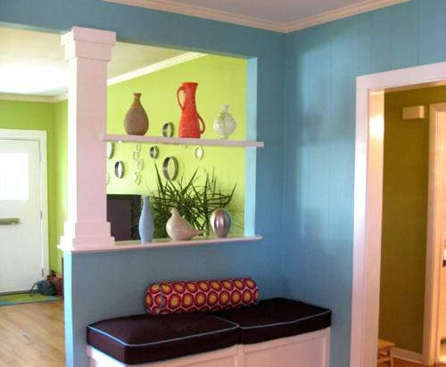 Moderne Wandfarbe fürs Zuhause blau trennwand regale  offen