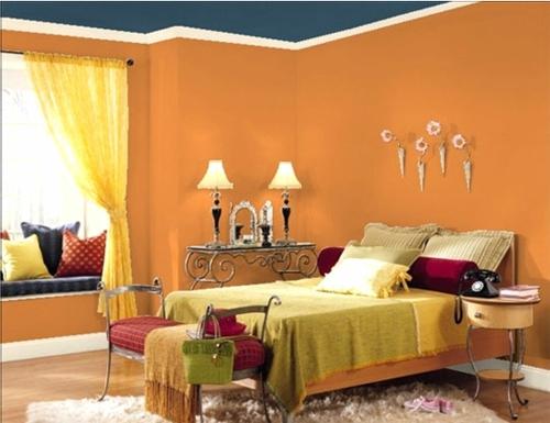 Moderne Wandfarbe fürs Zuhause orange schlafzimmer tischlampe