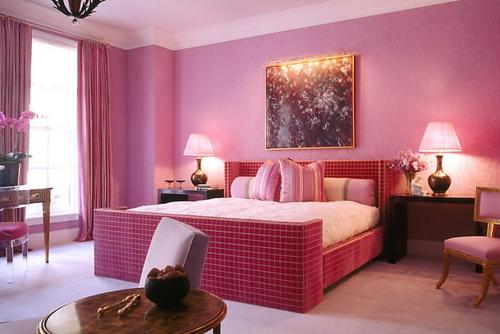 Moderne Wandfarbe fürs Zuhause rosa schlafzimmer bilder tischlampe