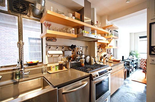 Küchenzubehör als Dekoration regale offen holz modern