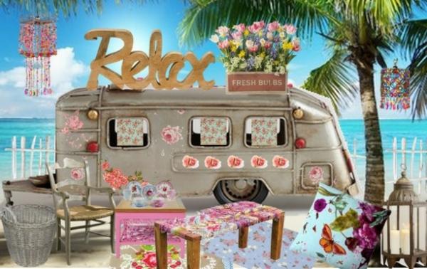 Schicke Vintage Deko Ideen im Sommer feminine bunt design ambiente