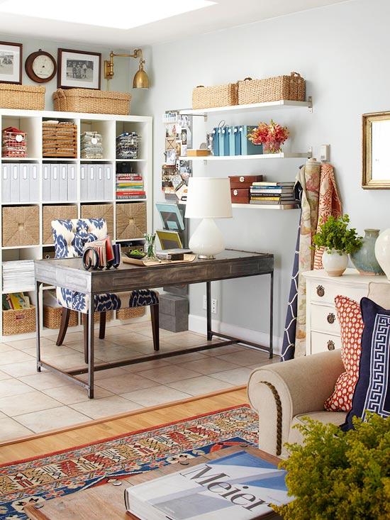 Schicke Wohnzimmer Ideen  bürotisch regale fächer