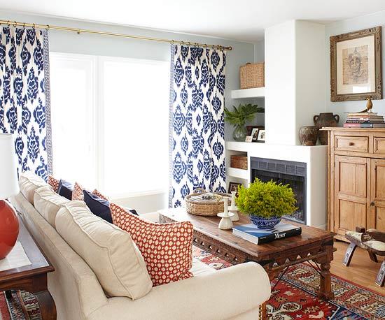 Schicke praktische Wohnzimmer Ideen formel gardinen sofa muster tisch