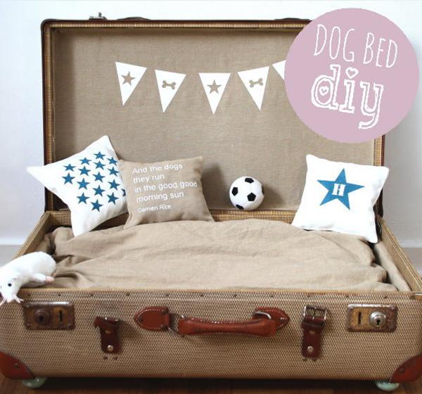 Möbel aus alten Koffern zum Selbermachen beige farbe hundebett