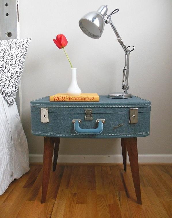Trendy Möbel aus alten Koffern selber machen beine nachttisch blau ...