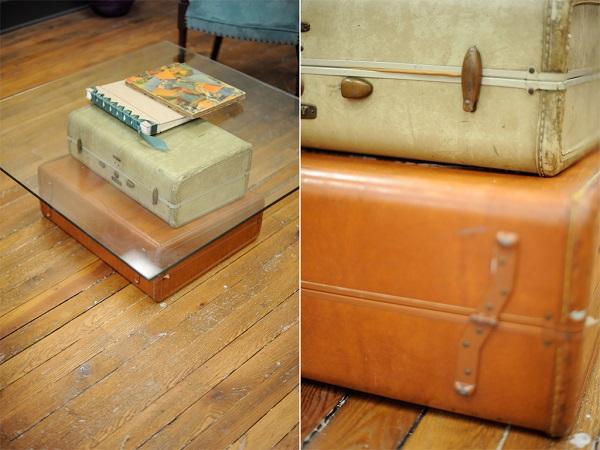 Trendy Möbel aus alten Koffern zum Selbermachen glas tischplatte