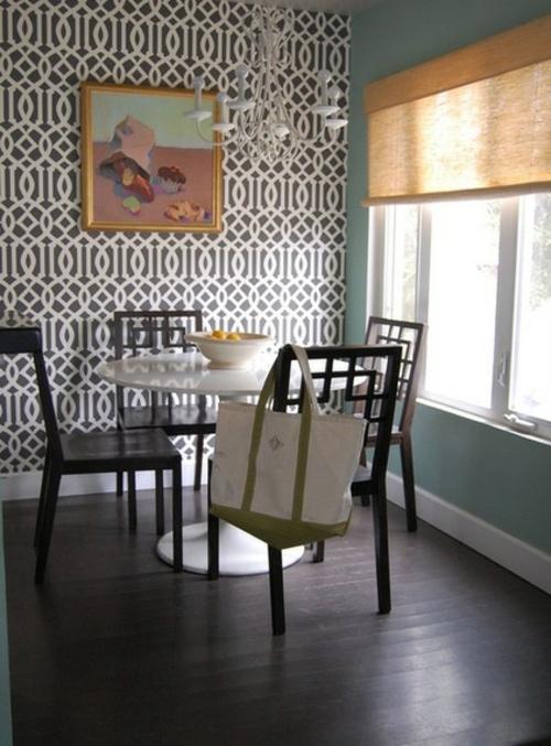 12 wohnideen fr wandgestaltung mit schnen tapeten - Tapete Schwarz Weis Muster