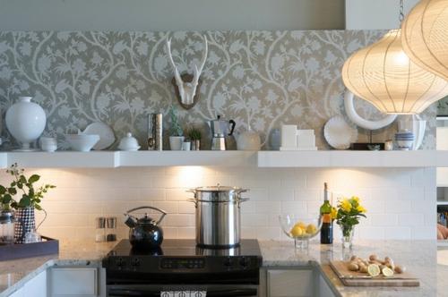 wandgestaltung mit schnen tapeten kche design grau porzellan - Tapete Grau Wohnzimmer