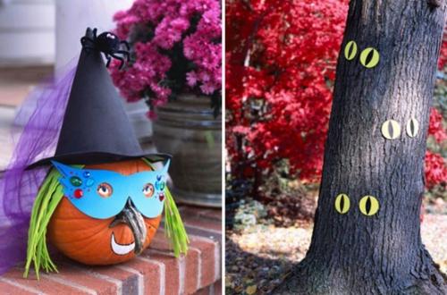 außenbereich deko halloween ideen selber machen DIY baum augen