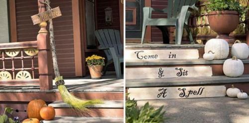 außenbereich deko halloween ideen selber machen DIY besen