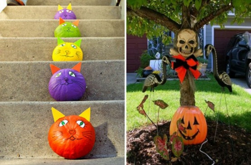außenbereich deko halloween ideen selber machen DIY bunt katzen