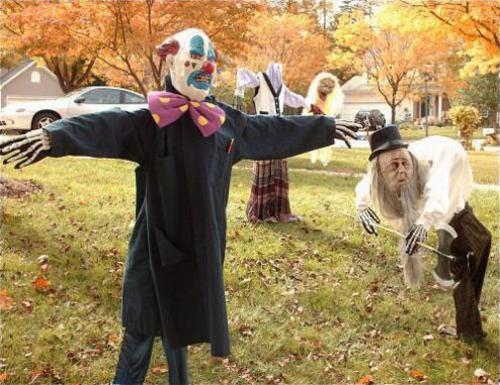 außenbereich deko halloween ideen selber machen DIY clowns
