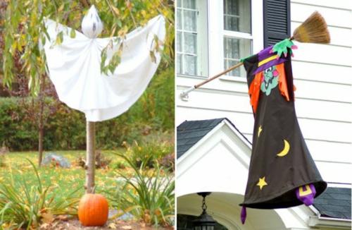 außenbereich garten deko halloween ideen selber machen DIY geist hexe