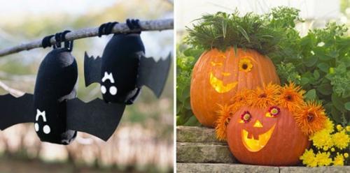 außenbereich deko halloween ideen selber machen DIY glücklich fledermaus