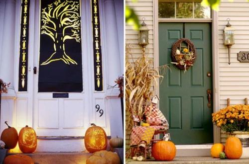 vorgarten deko halloween ideen selber machen DIY grün eingangstür