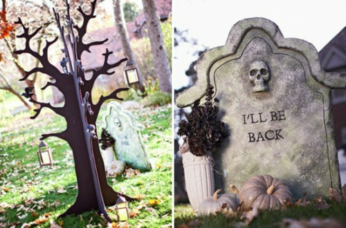 außenbereich deko halloween ideen selber machen DIY grab