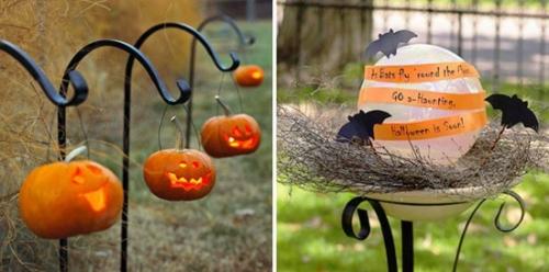 außenbereich deko halloween ideen selber machen DIY hängend kürbisse
