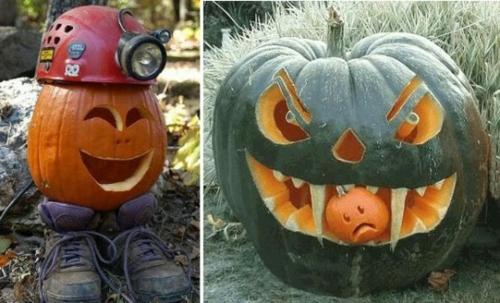 außenbereich deko halloween ideen selber machen DIY kürbisse