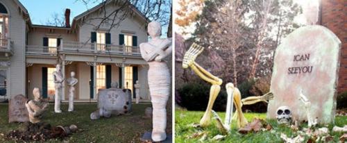 außenbereich deko halloween ideen selber machen DIY skeleton