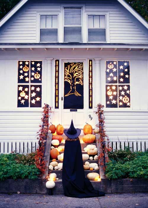 außenbereich deko halloween ideen selber machen DIY treppe lichter