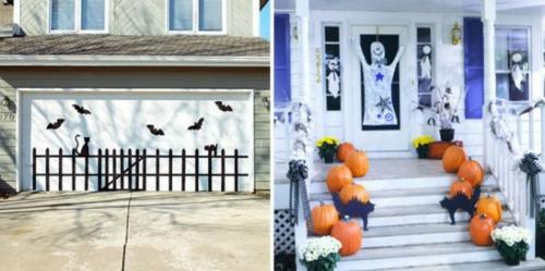 außenbereich deko halloween ideen selber machen DIY treppe weiß