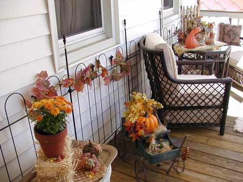 außenbereich deko halloween ideen selber machen DIY veranda gittersessel