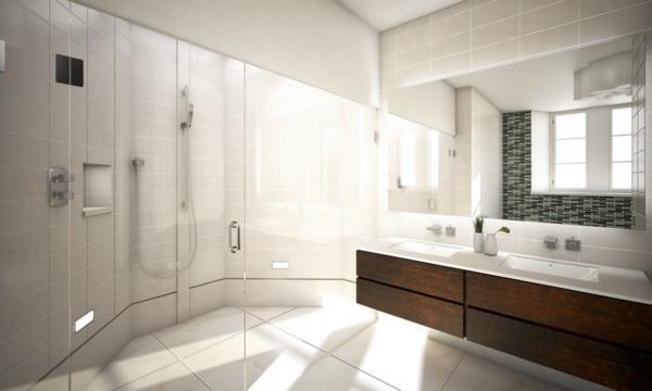 badezimmer design mit fliesen edles holz glastüren