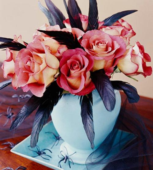 blmenvase schwarz rabe rosen blau keramisch helloween