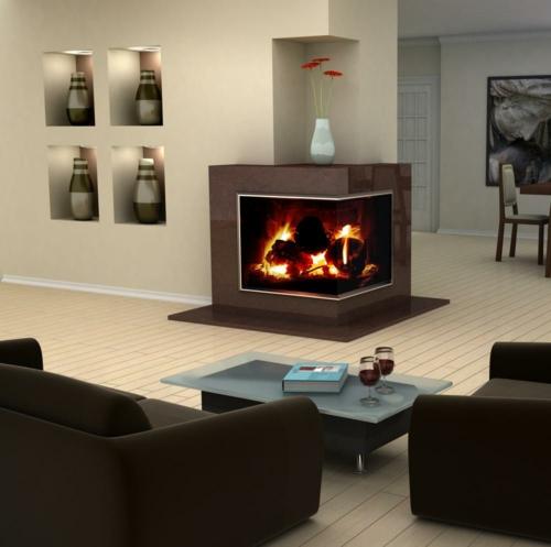 coole deko ideen für kamine ecke niedrig couchtisch sofas regale offen