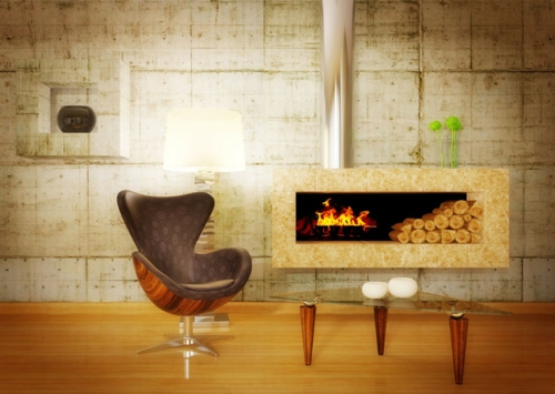 Coole Deko Ideen Für Kamine Sessel Modern Bequem Ergonomisch Rau Wand