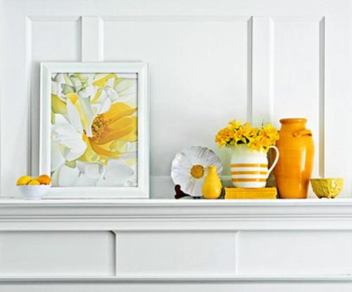 coole deko ideen für kamine weiß gelbe farben kaminsims bilderrahmen