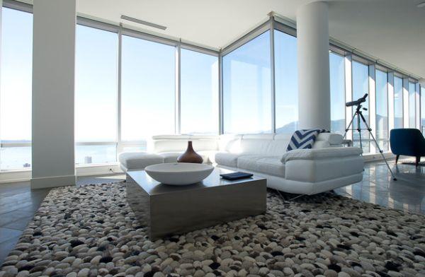 couchtische und stylische dekoration flußsteine optik teppich