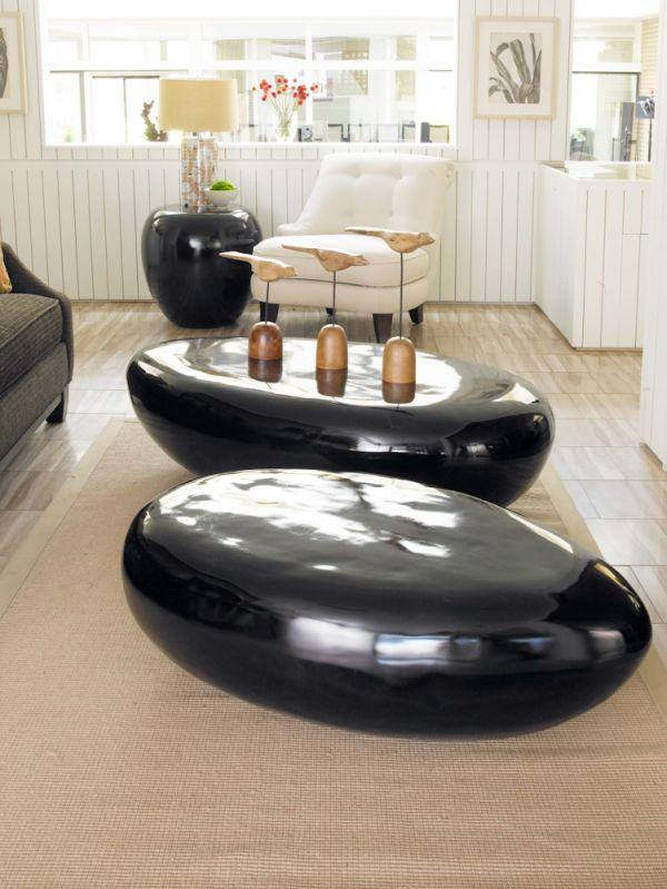 couchtische und stylische dekoration oval glänzende beistelltische schwarz