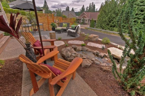 den vorgarten neu gestalten teakholz stühle natursteine