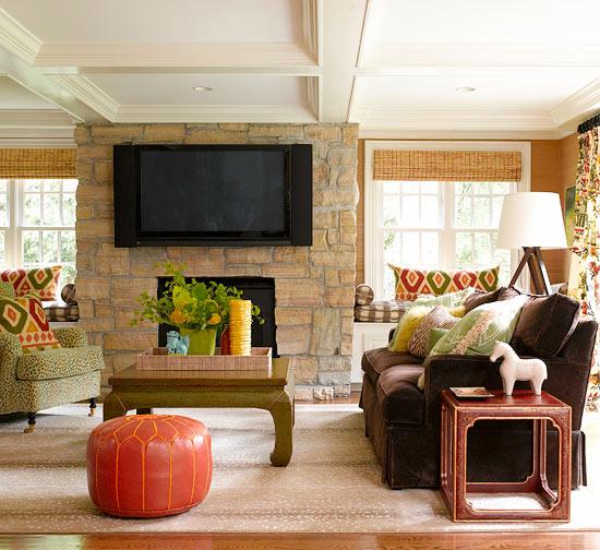 Die Perfekte Farbpalette Im Wohnzimmer Orangefarbener Lederhocker
