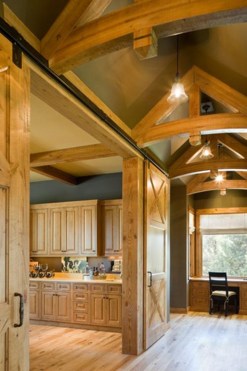ein flexibles küchen design helles holz offene deckenbalken