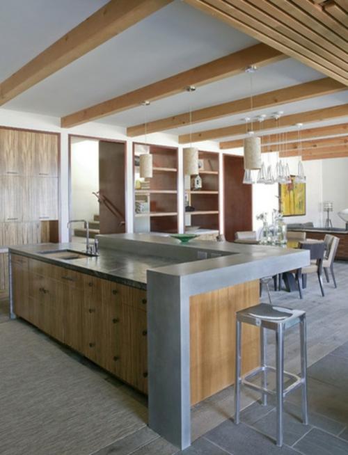 ein flexibles küchen design kücheninsel mit waschbecken glänzender barstuhl aus metall