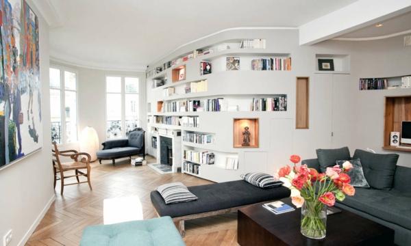 ein gemütliches zuhause ovales eingebautes bücherregal