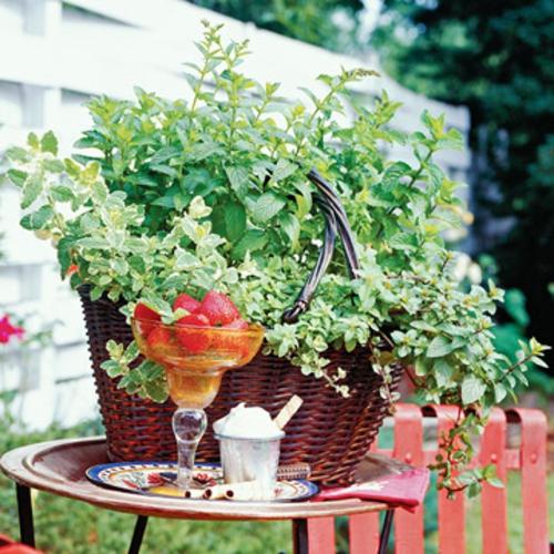 einen mini garten gestalten weidenkorb erdbeeren