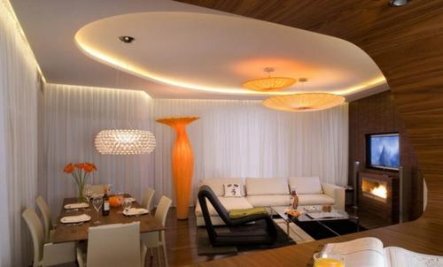 elegant orange akcente bodenvase indirekt beleuchtung zimmerdecke