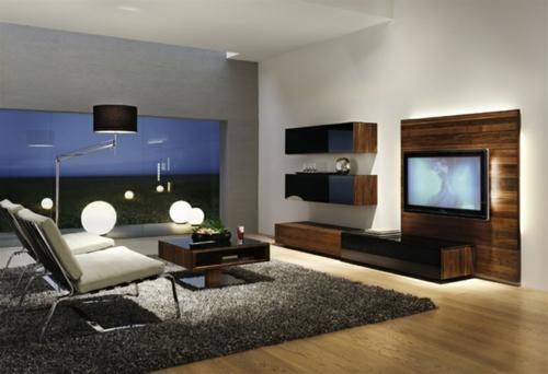 wohnzimmer holzmöbel:Minimalistisches Wohnzimmer – Holzmöbel Leuchtende gelbe