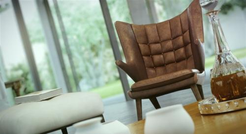 elegante Wohnzimmer Möbel leder sessel rücklehne braun couchtisch