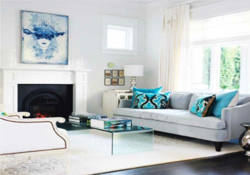 Schön Elegante Wohnzimmer Möbel Sofas Sessel Weiß Einrichtung Einbaukamin