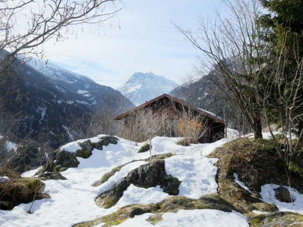 elegante originelle berghütte wald berge und schnee